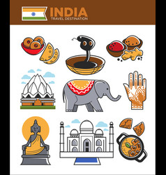 india tourism travel famous landmark symbols and vector image vector image