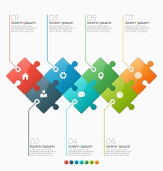 Infographic template with 7 puzzle sections vector
