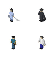 Isometric human set of male officer housemaid vector