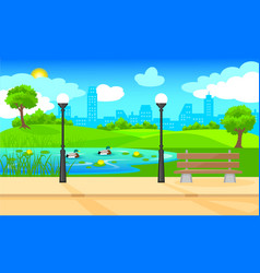 light city park landscape background vector image vector image