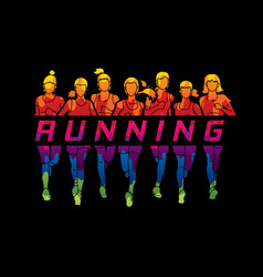 marathon runners group of women running with text vector image vector image