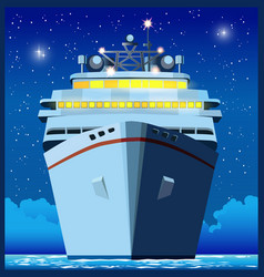 ocean liner at night vector image vector image