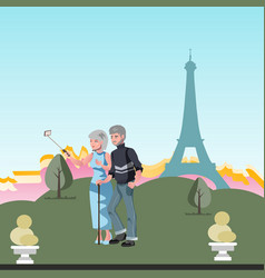 old couple travel together vector image