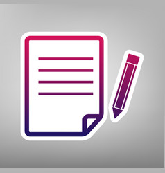 Paper and pencil sign purple gradient vector