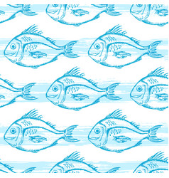 pattern with blue fish vector image vector image