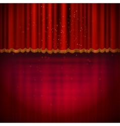 Red floor with red stage curtain vector image