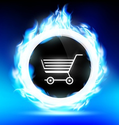 round button with a shopping trolley burns with a vector image vector image