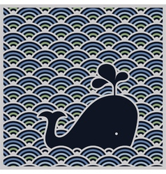 Seamless wavy pattern with blue whale vector