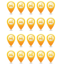Set of 20 cars wit signs map pointer yellow vector