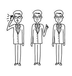Set of businessman with glasses standing vector