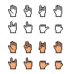Set of pixel cursor hands Simple and realistic - vector image vector image
