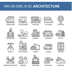set of thin line flat icons architecture vector image vector image