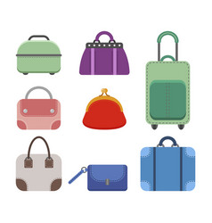 set of women handbags flat color icon of a vector image vector image