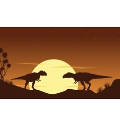 Silhouette of two mapusaurus landscape vector