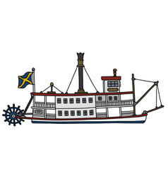 The old paddle steam riverboat vector