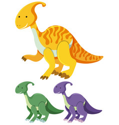 three parasaurolophus in different colors vector image