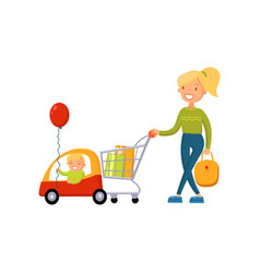 young woman pushing supermarket cart with some vector image
