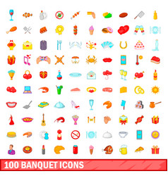 100 banquet icons set cartoon style vector