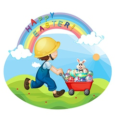 A boy with a helmet pushing the eggs and the bunny vector