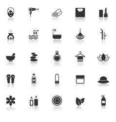 Beauty icons with reflect on white background vector