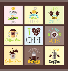 Coffee badge food cards hand drawn calligraphic vector