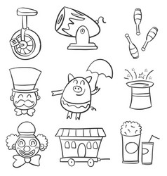 doodle circus various element vector image
