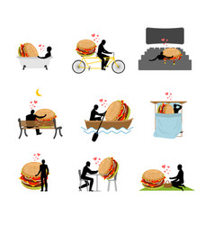 Lover fast food set man and hamburger in movie vector