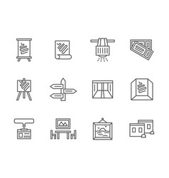 Exhibition rooms black line icons set vector