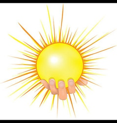 Sun in people hand vector
