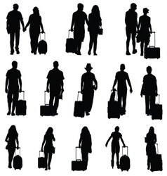 Man and woman with travel bag black silhouette vector