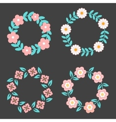 Floral frame collection cute retro flowers vector