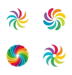 Bright colors rainbow flower logo set vector
