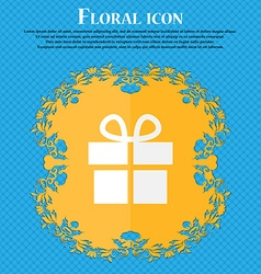 Gift box floral flat design on a blue abstract vector