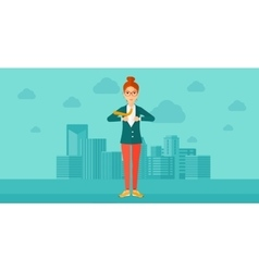 Business woman taking off jacket vector