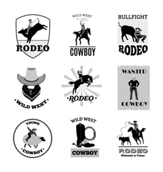 Rodeo black emblems set vector
