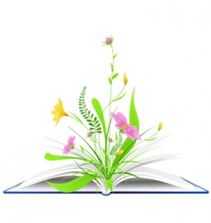 book and flowers background vector image