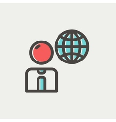 Businessman with global thin line icon vector image