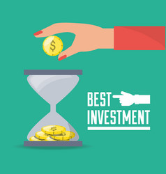 Businesswoman and hourglass investment concept vector