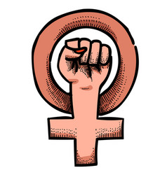 Cartoon image of feminism symbol vector