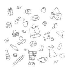Collection of items from the shopping areas vector