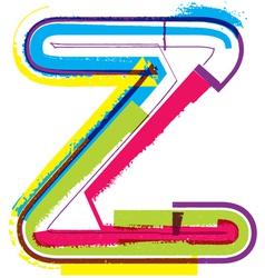 Colorful Grunge font Letter z vector image