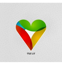 Colorful paper heart modern template vector image