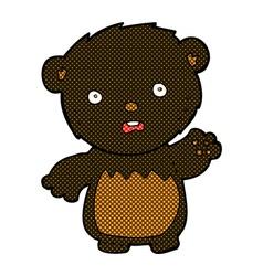Comic cartoon worried black bear vector