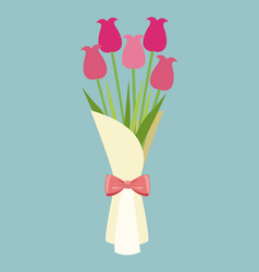 Cute bouquet flowers roses-mother day vector