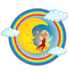 Cute fairy on the moon vector