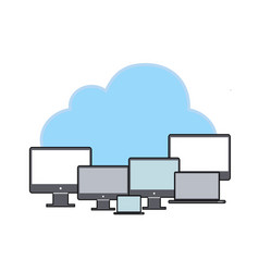 Data storage network technologycloud with pc flat vector