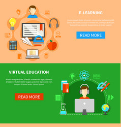 e learning banner set vector image