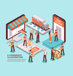 Electronic commerce isometric design concept vector