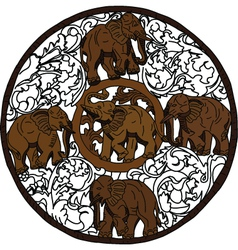 Five elephant in circle vector image