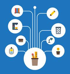 Flat icons bookshop trash basket desk light and vector